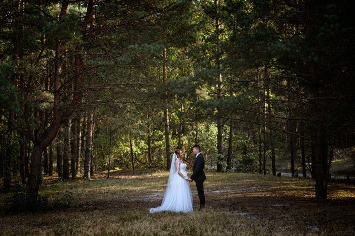 plener ślubny w lesie, zdjęcie ślubne, para młoda, fotograf na ślub, fotografia ślubna Poznań, lightup